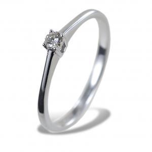 Anello solitario piccolo con diamante montatura dritta 0.08 carati - gallery