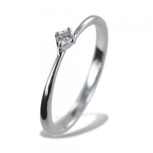 Anello solitario piccolo con diamante montatura Valentine 0.07 carati - gallery