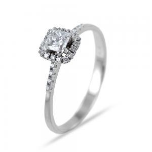 Anello solitario princess con contorno di diamanti 0.42 carati - gallery
