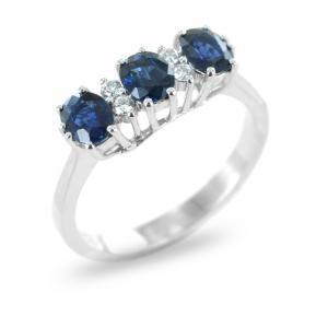 Anello Trilogy di Zaffiri con diamanti - gallery