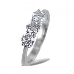 Anello Trilogy grande con diamanti 0.90 ct certificato IGI EX EX EX  - gallery