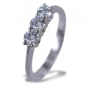 Anello Trilogy medio con diamanti oltre mezzo carato 0.60 ct - gallery