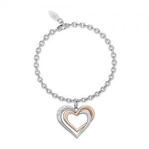 Bracciale 2Jewels con ciondolo cuore acciaio rosa collezione you and I 231950 - gallery