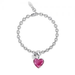 Bracciale 2Jewels con ciondolo cuore rosa collezione True Color 231946 - gallery