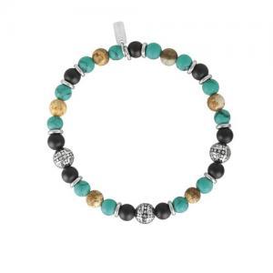 Bracciale 2Jewels Uomo Ethno in acciaio perle sfere pietre naturali 232029 - gallery