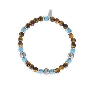 Bracciale 2Jewels Uomo Ethno in acciaio perle sfere pietre naturali 232030 - gallery