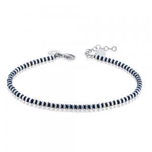 Bracciale con Angelo in argento e sfere blu diamantate GIA353   - gallery