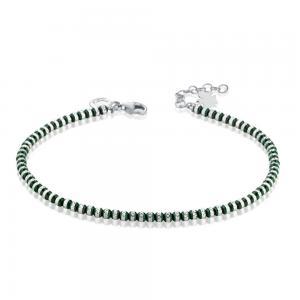 Bracciale con Angelo in argento e sfere Verdi diamantate GIA354  - gallery