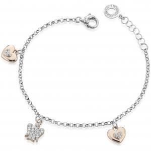 Bracciale con charms Cuori e Angelo in argento con Zirconi GIA333 - gallery