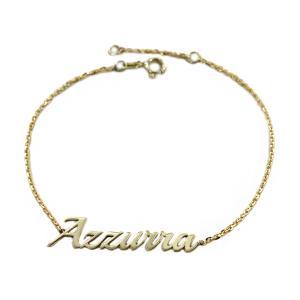 Bracciale da ragazza personalizzato con nome in oro giallo - gallery