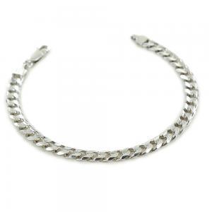 Bracciale da uomo classico in argento maglia groumette squadrata 6 mm - gallery