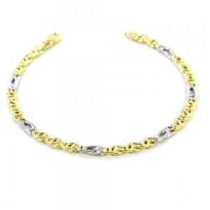 Bracciale da uomo in oro giallo e bianco a maglia occhio di pernice - gallery