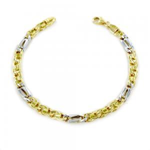 Bracciale da uomo medio in oro giallo e bianco occhio di pernice  - gallery