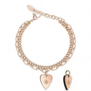 Bracciale Donna 2Jewels Regina di Cuori con ciondolo cuore rosa 232141 - gallery