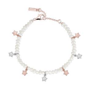 Bracciale Donna Mabina in Argento rosato e perle con stelle e zirconi - gallery
