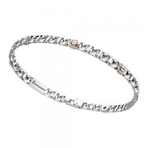 Bracciale in argento da uomo groumette e viti in oro rosa  EXB 887 R - gallery