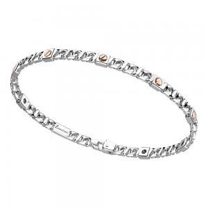 Bracciale in argento da uomo groumette e viti in oro rosa  EXB 892 R - gallery