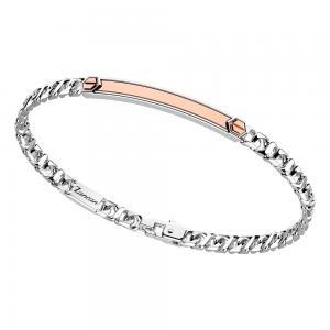 Bracciale in argento da uomo groumette spinelli neri e oro rosa  EXB 885 R - gallery