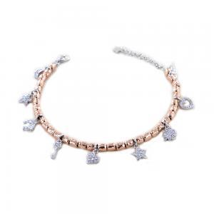 Bracciale in argento rosato con charm Portafortuna con silver e zirconi - gallery