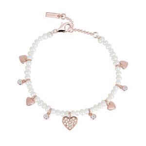 Bracciale Mabina in Argento rosato con perle e zirconi - gallery