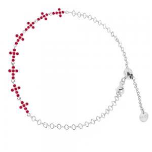 Bracciale religioso in argento con Croci e Zirconi rossi - gallery
