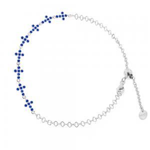 Bracciale religioso in argento con Croci e Zirconi blu - gallery