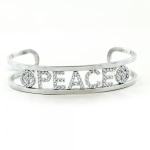 Bracciale rigido in argento a binario con scritta PEACE - gallery