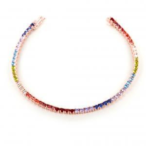 Bracciale tennis in argento e zirconi colorati - Tennis Rainbow medium - gallery