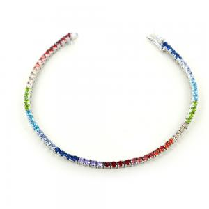 Bracciale tennis in argento e zirconi colorati - Tennis Rainbow - gallery