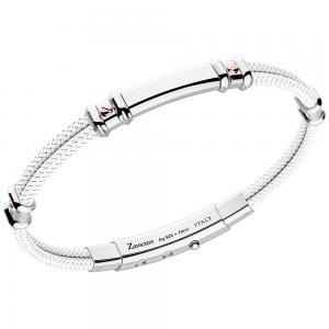 Bracciale Zancan da uomo in argento e kevlar Bianco EXB577R-BI - gallery