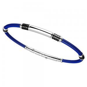 Bracciale Zancan da uomo in argento e kevlar blu EXB576-BL - gallery