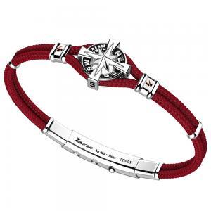 Bracciale Zancan Uomo in argento e corda nautica rosso rubino Regata Kompass EXB862R-RB - gallery