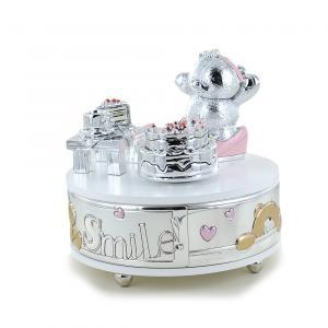 Carillon da bambina con orsetto argento e smalti rosa - gallery