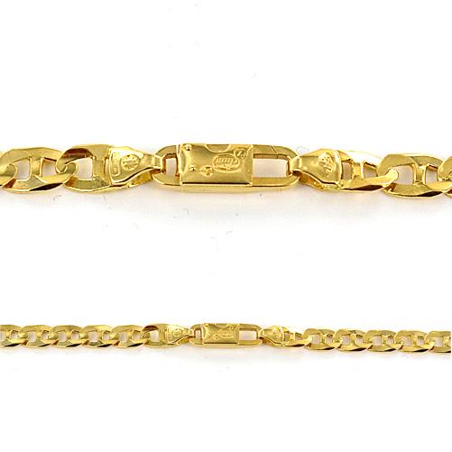 Catena in oro giallo 18 kt maglia traversino - 60 cm - gallery