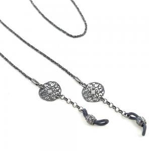 Catenella portaocchiali in argento 925 PVD nero - gallery