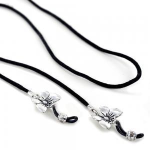 Catenella portaocchiali in tessuto con farfalle in argento  - gallery