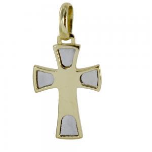 Ciondolo Croce moderna in oro giallo e bianco - gallery