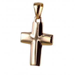 Ciondolo Croce piena stilizzata media in oro rosa - gallery