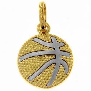 Ciondolo palla da basket in oro giallo e bianco con collana - gallery