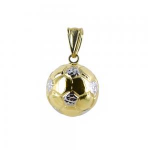 Ciondolo Palla da calcio sferica in oro giallo e bianco con collana - gallery