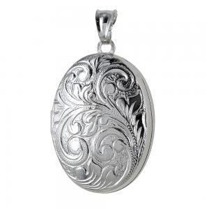 Ciondolo portaricordi ovale in argento portafoto - gallery