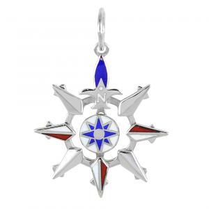 Ciondolo Rosa dei Venti da uomo Arcadia Gioielli in argento - gallery
