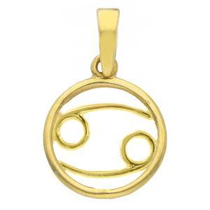 Ciondolo segno zodiacale Cancro in oro giallo stilizzato - gallery