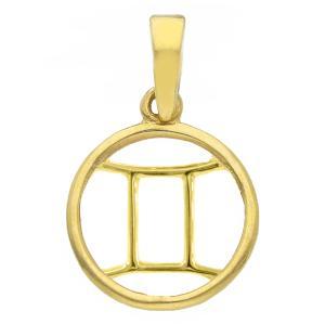 Ciondolo segno zodiacale Gemelli in oro giallo stilizzato - gallery