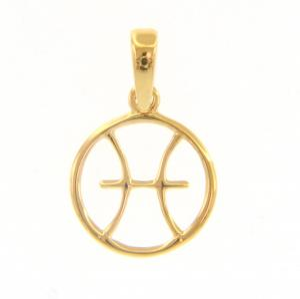 Ciondolo segno zodiacale Pesci in oro giallo stilizzato - gallery