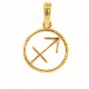 Ciondolo segno zodiacale Sagittario in oro giallo stilizzato - gallery