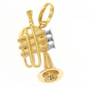 Ciondolo Tromba in oro giallo con collana - gallery