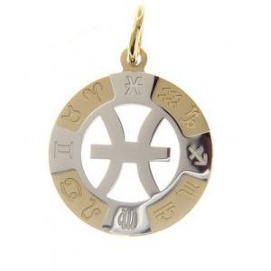 Ciondolo Zodiaco in oro giallo e bianco - SEGNO PESCI - gallery