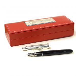 Cofanetto regalo LAUREA con penna stilografica argento e astuccio in pelle rossa - gallery