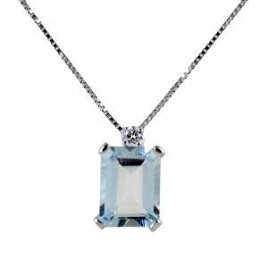 Colla con ciondolo Acquamarina ct 1.50 e Diamante ct 0.04 G - gallery